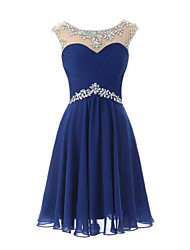 cheap -Sheath / Column Scoop Neck Knee Length Chiffon Bridesmaid Dress with Crystal Detailing by