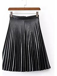 A-linje Nederdele-Dame Farveblok Flettet-Vintage Højtaljede I-byen-tøj Midi PU Uelastisk Fjeder / Efterår