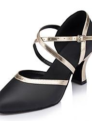 """Damen Modern Echtes Leder Sandalen Aufführung Verschlussschnalle Kubanischer Absatz Schwarz 2 """"- 2 3/4"""" 3 """"- 3 3/4"""" Maßfertigung"""