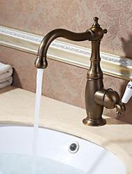 Недорогие -Античный По центру Вращающийся Керамический клапан Одной ручкой одно отверстие Старая латунь, Ванная раковина кран