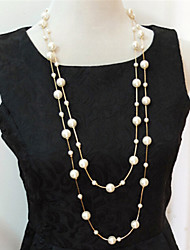 cheap -Women's Pearl Imitation Pearl Pearl Necklace Layered Necklace Strands Necklace - Multi Layer Necklace For Wedding Party Daily Casual