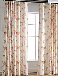 cheap -Curtains Drapes Bedroom Leaf Linen / Polyester Blend Print & Jacquard