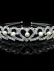cheap -Lucky Doll Women's Elegant 925 Silver Plated Imitation Pearl Cubic Zirconia Heart Headband
