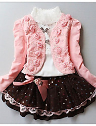 cheap -Girl's Cotton  Blend Winter / Fall  Rose  Coat Turtle Neck Tee Ball Gown  Three-Piece Suit