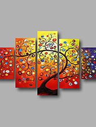 cheap -Hand-Painted Floral/Botanical Any Shape, Modern Canvas Oil Painting Home Decoration Five Panels
