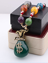 May Polly  European style purse Pendant Necklace Beads long drop of oil