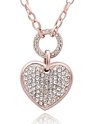 Women's Pendant Necklaces Chain Necklaces AAA Cubic Zirconia Zircon Rose Gold Plated Simulated Diamond Alloy HeartBasic Unique Design