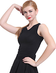 cheap -Women's Sleeveless Cotton Vest - Solid Colored V Neck