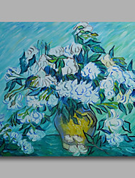 Ready to hang Stretched Hand-Painted Oil Painting Canvas Van Gogh repro Vase with White Poppies One Panel