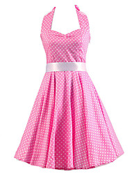 cheap -Women's Pink White Mini Polka Dot Dress , Vintage Halter 50s Rockabilly Swing Dress