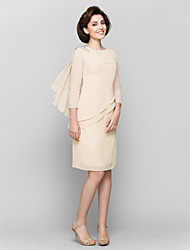 cheap -Sheath / Column Bateau Neck Knee Length Chiffon Mother of the Bride Dress with Crystal Detailing by LAN TING BRIDE®