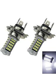 2x 12V-24V белый автомобиль лампы 60 2835 SMD + 3 3535smd h4 светодиодные противотуманные фары лампа с линзой