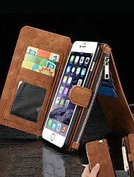 cheap -For iPhone 8 iPhone 8 Plus iPhone 6 iPhone 6 Plus Case Cover Wallet Card Holder with Stand Flip Full Body Case Solid Color Hard Genuine