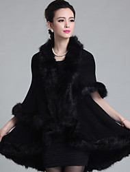 cheap -Sleeveless Faux Fur Imitation Cashmere Wedding Hoods & Ponchos Fur Coats Wedding  Wraps With Feathers / Fur Capes