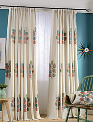 cheap -Grommet Top Double Pleat Two Panels Curtain Country Modern Neoclassical , Embroidery Bedroom Linen / Cotton Blend Material Curtains Drapes