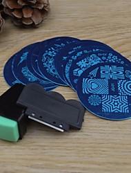 Недорогие -10шт Nail Art штамповка изображения шаблона плиты + 2 шт ногтей штамповки принтер (случайный цвет)