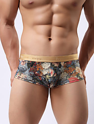 cheap -Men's underwear Low waist boxers Royal printing Men's underwear appeal personality