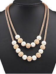cheap -Women's Pearl Pearl Necklace Layered Necklace - Fashion Double-layer European Ball Necklace For Special Occasion Birthday Gift
