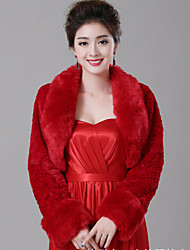 cheap -Long Sleeves Faux Fur Wedding Wedding  Wraps With Feathers / fur Shrugs