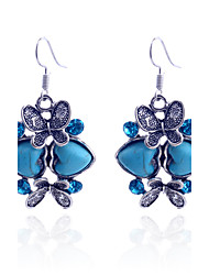 Dame Dråbeøreringe Kærlighed luksus smykker kostume smykker Krystal Sølvbelagt Simuleret diamant Turkis Hjerteformet Dyreformet Sommerfugl