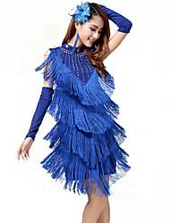 Dança Latina Vestidos Mulheres Actuação Algodão Nailon Elastano Fibra de Leite Borla(s) 1 Peça Vestidos 94