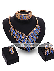 cheap -Crystal Jewelry Set - 18K Gold Plated, Cubic Zirconia Statement, Vintage, Party Include Gold For Party / Earrings / Necklace