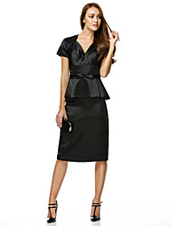 cheap -Sheath / Column V Neck Knee Length Charmeuse Cocktail Party Dress with Bow(s) by TS Couture®
