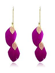 Boucles d'oreille goutte Plume Alliage Mode Plume Violet Café Rouge Rose Vert Bleu Bijoux Soirée Quotidien Décontracté 2pcs
