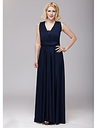 cheap -Floor-length Spandex Bridesmaid Dress - A-line V-neck with Sash / Ribbon