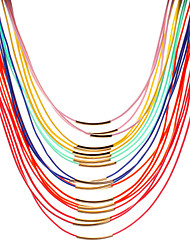 cheap -Women's Personalized Imitation Pearl Fashion Colorful Multi Layer Choker Necklace Layered Necklace Pearl Necklace Pearl Leather Resin