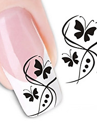 cheap -Water Transfer Printing Black Butterflies Nail Stickers