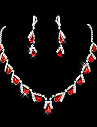 cheap -Synthetic Ruby Cute Party Gemstone & Crystal Synthetic Gemstones Cubic Zirconia Silver Plated Imitation Diamond Alloy Drop Necklace