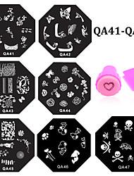 10pcs nail plates+ 1set nail stamper and scraper - Autre décorations - Doigt / Orteil - en Fleur - 6.0cm for dia