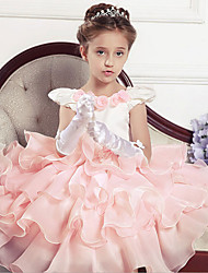 cheap -Ball Gown Tea Length Flower Girl Dress - Cotton Polyester Tulle Sleeveless Jewel Neck with Sash / Ribbon Pleats Flower by YDN