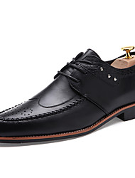 Men's Oxfords Spring Summer Fall Winter Comfort Leather Outdoor Office & Career Casual Party & Evening Flat Heel Ruffles Black Brown