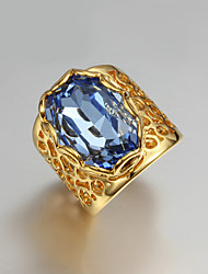 2015 Fashion Noble 18K Blue CZ Stone Gold Plated Exaggerate Band Rings For Woman