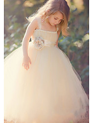 Ball Gown Ankle Length Flower Girl Dress - Polyester Tulle Sleeveless Spaghetti Straps with Bow(s) Flower(s) Sash / Ribbon by LAN TING