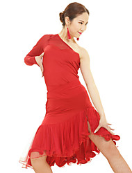 cheap -Latin Dance Dresses Women's Performance Rayon / Spandex / Polyester Ruffles 1 Piece Dress Top length S-XXL: 54cm  Skirt length: 65cm
