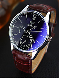 cheap -YAZOLE® Luxury Brand Fashion Faux Leather Blue Ray Glass Men's Watch Quartz Analog Business Wrist Watches Men montre homme Cool Watch Unique Watch