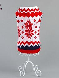 お買い得  -ネコ 犬 セーター パーカー 犬用ウェア 花/植物 レッド コットン コスチューム ペット用 男性用 女性用 新年 クリスマス