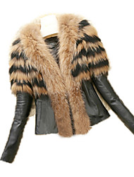 cheap -Women's Chic & Modern Faux Fur Fur Coat - Solid Color, Modern Style