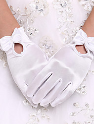 cheap -Spandex Wrist Length Glove Bridal Gloves Party/ Evening Gloves With Bowknot Pearl