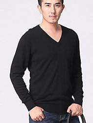 Недорогие -Для мужчин Офис Большие размеры На каждый день Обычный Пуловер Однотонный Длинный рукав Кашемир