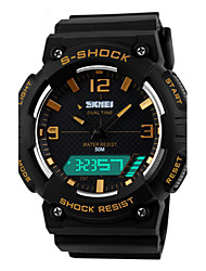 cheap -Men's Sport Watch Wrist Watch Digital 50 m Water Resistant / Water Proof Alarm Calendar / date / day PU Band Analog-Digital Charm Black - Orange Blue Golden / Chronograph / LED / Dual Time Zones
