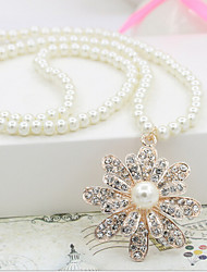 cheap -Women's Pearl Long Pendant Necklace - Pearl Flower Bohemian, Boho White Necklace For