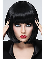cheap -Synthetic Wig Straight Bob Haircut / With Bangs Synthetic Hair Black Wig Women's Short Capless