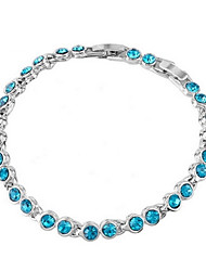 cheap -High Quality Crystal Silver Plated Round Link Chain &Link Bracelet