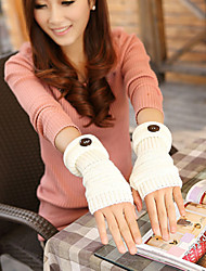 cheap -Women's Winter Lovely Add Long Sleeves And A Half Refers To Fashion Buttons Wool Knitting Fingerless Gloves