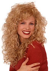 Women Synthetic Wig Long Curly Blonde Halloween Wig Carnival Wig Costume Wig