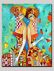 Dipinta a mano Ritratti astratti Verticale,Modern Un Pannello Tela Hang-Dipinto ad olio For Decorazioni per la casa